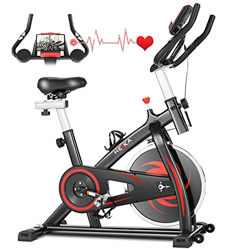 HEKA Indoor Cycling Bike Stationary, Belt Drive Indoor Exercise Bikes, Stationary Bike for Home Cardio Workout Bike Training, with APP, Adjustable Resistance, Comfortable Seat Cushion