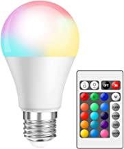 SooFam LED RGB Color Changing Light Bulbs with Remote, Dimmable LED Light Bulb, E26 Screw Base, 40 Watt Equivalent Soft Wa...