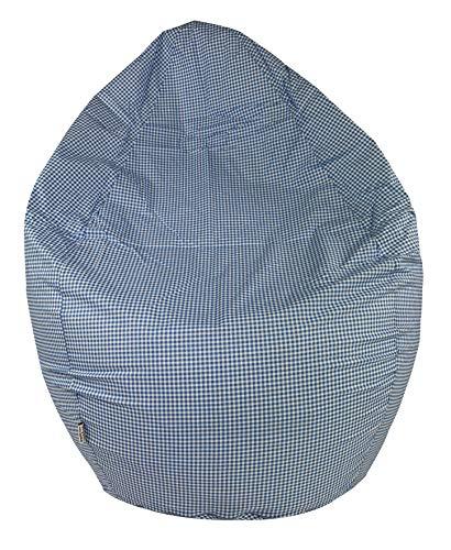 joyfill Sitzsack 240L unplattbare EPP Polypropylen Perlen mit Baumwoll Bezug - Pattern (913 Vichy blau)