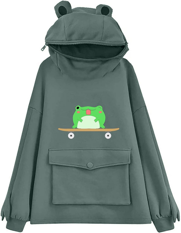 Gerichy Hoodies for Women 2021, Womens Casual Long Sleeve Frog Printed Hoodies Fashion Hooded Sweatshirts Pullover Tops