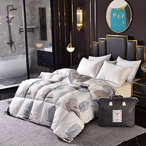 Hahaemall super king size duvet Polypropylene Cover 95% White Goose Down Quilt Duvets Winter Comforters 100% Cotton Cover King Queen-Non Allergenic Hollowfibre Full Size-E_200x230cm-4000g