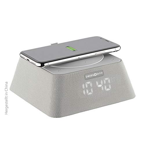 swisstone Q-BOX Bluetooth-Lautsprecher (Uhrenradio mit QI-Ladegerät (bis zu 10 Watt), FM Radio (10 Watt RMS Musikleistung), Powerbank-Funktion (3.000mAh)) grau