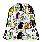 JHUIK Drawstring Bag Backpack,Hombre Mujer Gimnasio Classic Sport Drawstring Bag Set Topo Hedgehog Camping Explore Mundo Insectos aislados imágenes de Dibujos Animados niños pequeños