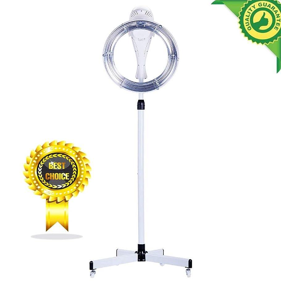 圧力育成酸化物220ボルト950ワットスタンディングヘアドライヤープロのヘアカラープロセッサアクセラレータプレートヒーターサロンバーバー調節可能なフード&高さと車輪