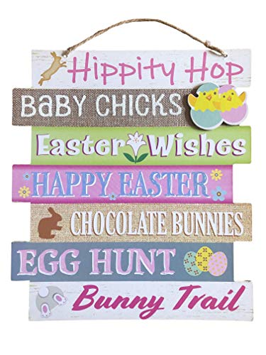 Greenbriar Hippity Hop Happy Easter Sign Wood, Easter Decor for The Home, Wood Bunny Decor