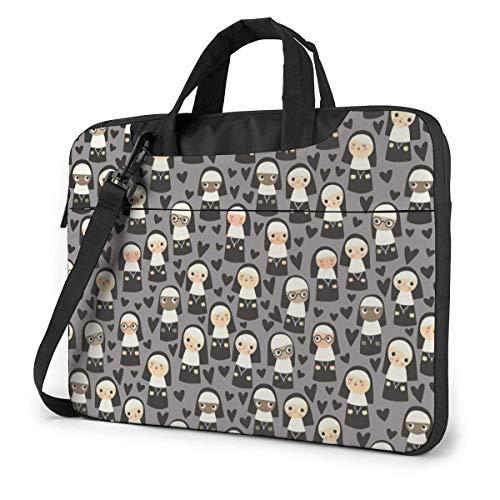 Laptop Shoulder Bag, Nuns On Mini Custom Durable Laptop Messenger Bag with Handle for 13-15.6in Laptop