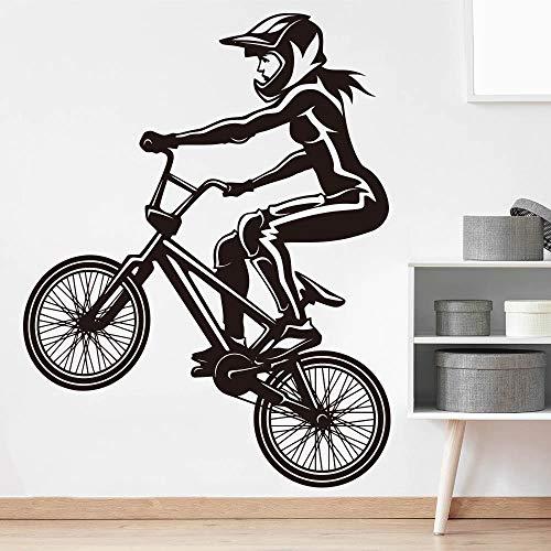 YuanMinglu Fahrrad mädchen wandaufkleber kinderzimmer mädchen extremsport Mountainbike Fahrrad Vinyl wandtattoos raumdekoration 56x43 cm