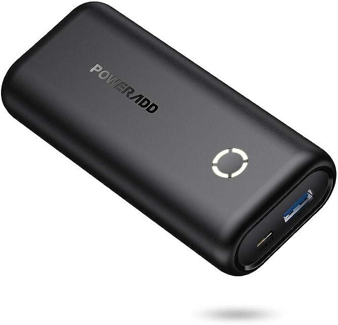POWERADD EnergyCell Mini Power Bank 10000mAh Cargador Portátil Batería Externa con Salida de 2.4A Carga rápida para iPhoneSamsungXiaomiHuaweiTablets y más Dispositivos-Negro