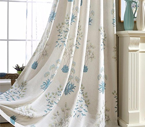 TINE HOME CURTAINS Fancy Vitrage & Drapes Grande Taille Imprimé en Lin Rideaux pour Chambre à Coucher Salon prêt Made-1pc, 1pc(200 * 270 cm?