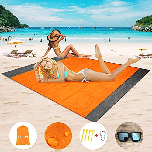 Kyhon Outdoor Beach Mat Picnic Blanket,Extra Large 210 x 200cm Waterproof Portable Picnic nCov-EMC Trojan / Agent 4 Fixed Nails,Reinforced Edging for Beach,Park,Camping,Hiking & Family Concerts