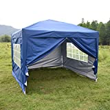 charaHOME 10 x 10 Canopy Tent Pop Up Portable Shade Instant Heavy Duty Outdoor Gazebo Blue with 4 Removable Sidewalls for Outdoor Party Wedding Commercial Activity Pavilion BBQ Beach Car Shelter