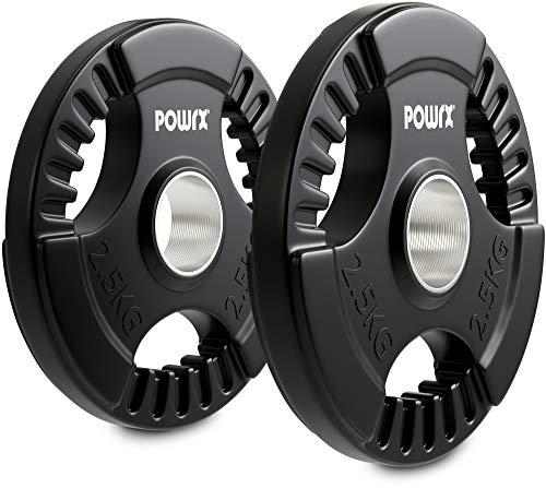 POWRX Dischi Pesi Olimpici 5 kg Set (2 x 2,5 kg) - Ideali per manubri e bilancieri olimpionici con Braccio da 51 mm (Nero)