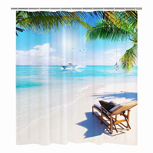 Elloevn Sommer Strand Motiv Duschvorhang, Anti Schimmel Wasserdicht Stoff Badezimmer Duschvorhänge, Sonne Meer Himmel und Wolken Shower Curtain, 175x178 cm