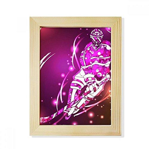 DIYthinker Sport Skifahren Eishockey Cartoon Illustration Desktop-HÖlz-Bilderrahmen Fotokunst-Malerei Passend 15.2 x 20.2cm (6 x 8 Zoll) Bild Mehrfarbig