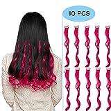 Extension Capelli Colorati Clip in Hair Ricci Mossi Finti Rossi 10 Ciocche da Donna Bambina Cosplay Halloween Festa Posticci Lunghi 50cm Pesa 80g, Rosso Fucsia