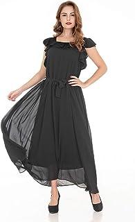 Women's 1 Piece Flounce Sleeve Top Over Long Full Chiffon Skirt