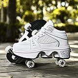 Zapatos De Patinaje sobre Ruedas, 4 Ruedas, Ajustables, con Cuatro Ruedas, con LED, para Patines, Zapatillas De Gimnasia con Carga USB,White-34