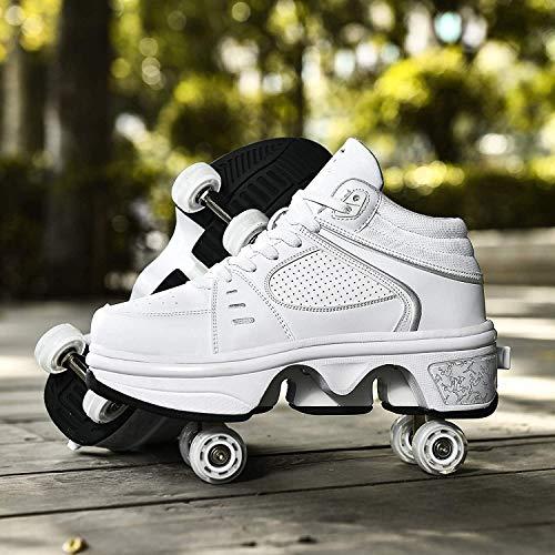 Zapatos De Patinaje sobre Ruedas, 4 Ruedas, Ajustables, con Cuatro Ruedas, con LED, para Patines, Zapatillas De Gimnasia con Carga USB,White-35