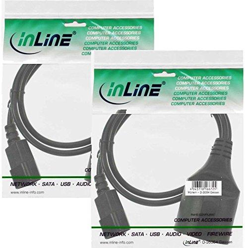 2x InLine Kaltgeräte C14 auf Schutzkontakt Buchse Netz Adapter Kabel für USV (1m) schwarz