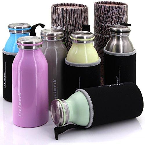 freiwerk® Thermosflasche 350ml - Edelstahl Doppelwandig - Neopren Schutzhülle - Kids Travel Outdoor to Go Flasche Edelstahl