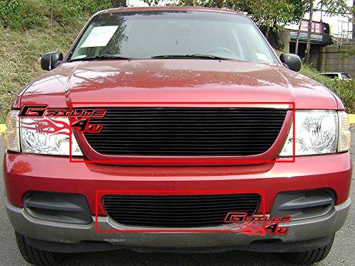 APS Compatible with 2002-2005 Ford Explorer Black Billet Grille Combo F87989H