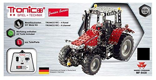 RC Traktor kaufen Traktor Bild 1: Tronico 10087 - Metallbaukasten Traktor Massey Ferguson MF 5430 mit Fernsteuerung, Junior Serie, Maßstab 1:24, 531-teilig, rot*
