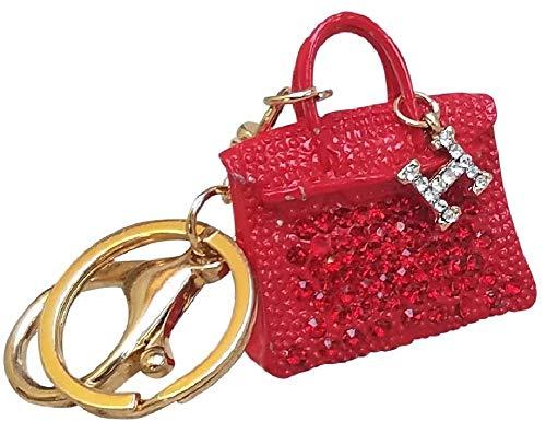 AM Landen Rhinestone Handbag Style Red Key Chain Key Ring Womens Handbag Charms