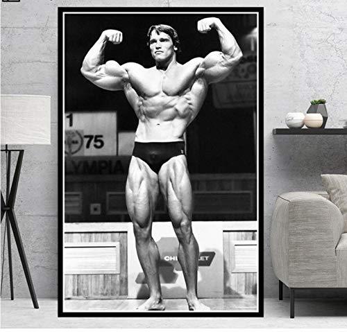 Arnold Schwarzenegger Poster Bodybuilding Fitness Palestra Allenamento Tela Pittura Wall Art per Living Room Decor 50 × 70 Cm Senza Cornice