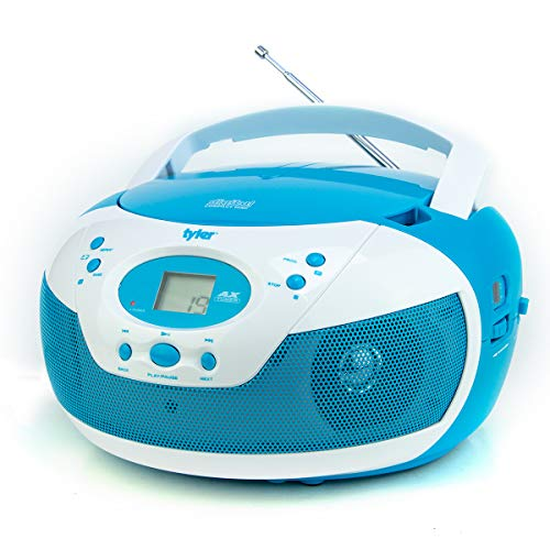 Tyler Portable Neon Blue Stereo CD Player with AM FM Radio and Aux & Headphone Jack Line-in (TAU105-NBL)