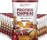 IronMaxx Protein Chips 40 - Paprika Geschmack - 10er Pack / 10x 50g - High Protein, Low Carb, glutenfrei - fettarm und zuckerreduziert - 20g Protein pro Tüte - Designed in Germany -