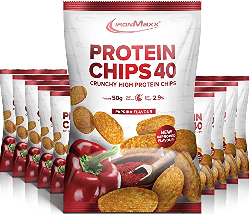 IronMaxx Protein Chips 40 - Paprika Geschmack - 10er Pack / 10x 50g - High Protein, Low Carb, glutenfrei - fettarm...