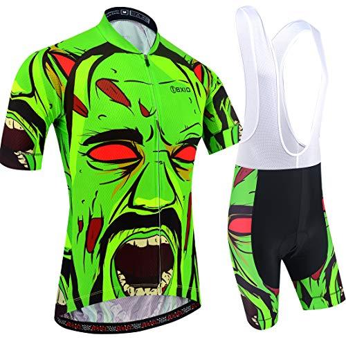 BXIO Camisetas de Ciclismo para Hombre Fluo Green Mangas Cortas y Pantalones Cortos Acolchados con Gel Trajes de Ciclismo Transpirables Ropa Ciclismo 204 (Fluo Green(204,Bib Shorts), XL)
