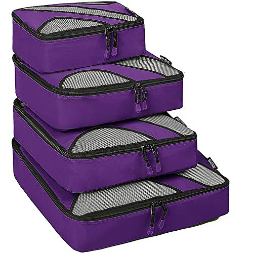 KYEEY Travel Luggage Storage Bag Set 4 Set Packing Cubes Travel Luggage Organizers Bags Compression Pouches Clothes Suitcase Compression Pouches (Color : Purple)