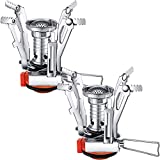 Camping Stove Travel Stove Windproof Backpacking Stove with Piezo Ignition Portable Fuel Burner for Outdoor Camping Hiking Cooking (2 Pieces)