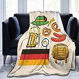 Coperta In Micro Pile Ultra Morbida,Oktoberfest simboli birra salsiccia di frumento e salatini colorati disposizione bavarese, Calda coperta per la decorazione domestica per divano letto 80 'x 60'