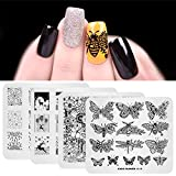 Set de 4 pcs de placa de estampado de uñas Fuegos artificiales navideños Flor de mariposa Plantilla de imagen de diseño de múltiples patrones con 1 pcs de estampador polaco