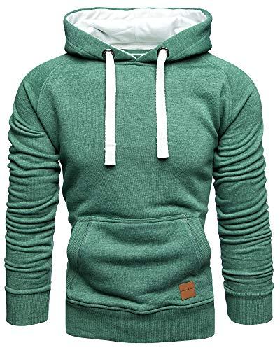 Amaci&Sons Herren Basic Kontrast Kapuzenpullover Sweatjacke Pullover Hoodie Sweatshirt 1-04027 Grün L