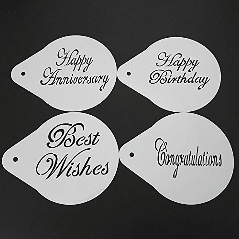Renovatio Store 5 Inch Blessing Happy Birthday Anniversary Cake Stencils Plastic Cake Decoration Baking Tools