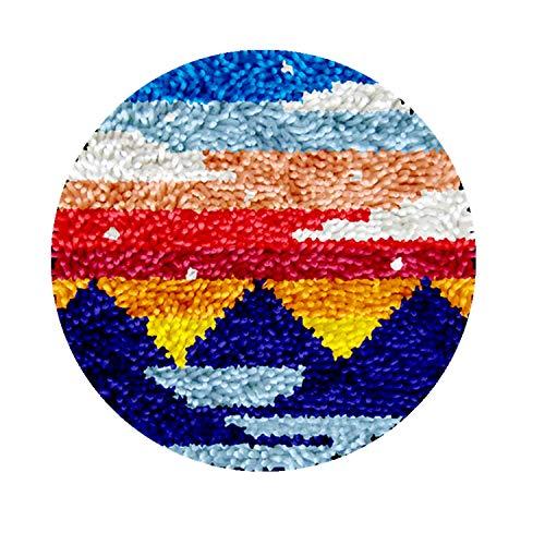 DIY Latch Hook Rug Kits, Kit de Ganchillo Alfombras para Adultos, Alfombras de Crochet Bordados en Punto de Cruz con Lienzo Impreso-Amanecer 11,8*11,8inch