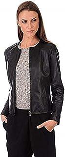 DOLLY LAMB Women's Lambskin Leather Bomber Biker Jacket Small Black