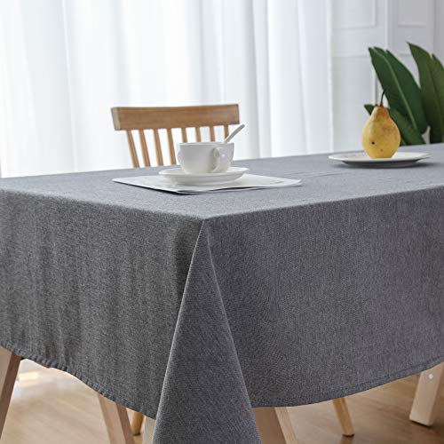 Mantel rectangular de algodón gris para fiestas, 137 x 182 cm