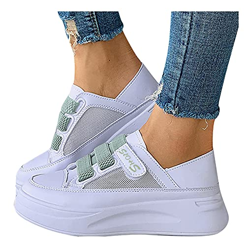 BIBOKAOKE Zapatillas de deporte para mujer, con plataforma y cierre de velcro, para el tiempo libre, zapatillas de correr, cómodas y elegantes