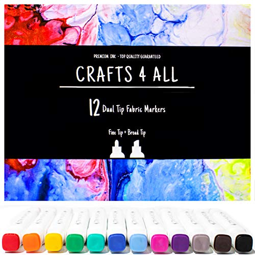 Fabric Markers 12 Pack Dual Tip Fine Permanent Coloring Fabric Pens by Crafts 4