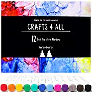 Crafts 4 All Fabric Markers Pens Permanent 12 Bright Dual TIP Fabric Paint, Child Safe, Water-Based & Non-Toxic, Writers Art