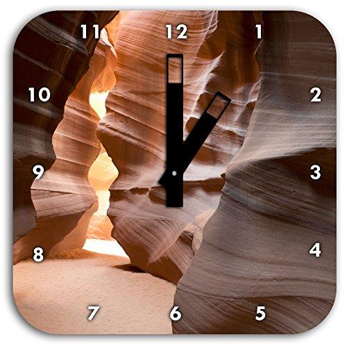 Stil.Zeit Wunderbarer Antelope Canyon Arizona, Wanduhr Quadratisch Durchmesser 28cm mit schwarzen eckigen Zeigern und Ziffernblatt