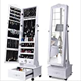 Zqcm joyero, organizador de joyas, caja de almacenamiento con espejo, para pulseras, pendientes, anillos, collares