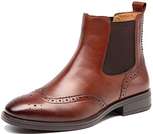 U-lite Womens Brown Winter Lady Vintage Brogue leather Chelsea ankle boots Women booties Boot shoe 8