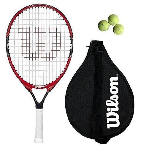 M D Trading Wilson Federer - Raqueta de tenis (66 cm, incluye 3 pelotas de tenis), color negro y blanco