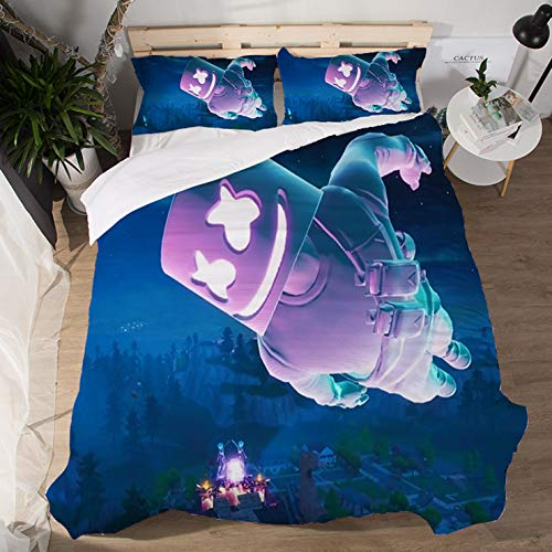 Yicool 3 Piece Queen Size Bedding Sheet Set DJ Marchmello Polyester Blend Quilt Cover and Pillowcases Cartoon Marchmello Helmet Style