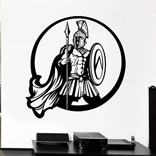 HGFDHG Pegatinas de Pared Vintage Guerrero Griego Antiguo Escudo Espartano Lanza de Guerra Pegatinas de Pared de Vinilo decoración del hogar de la Sala de Estar